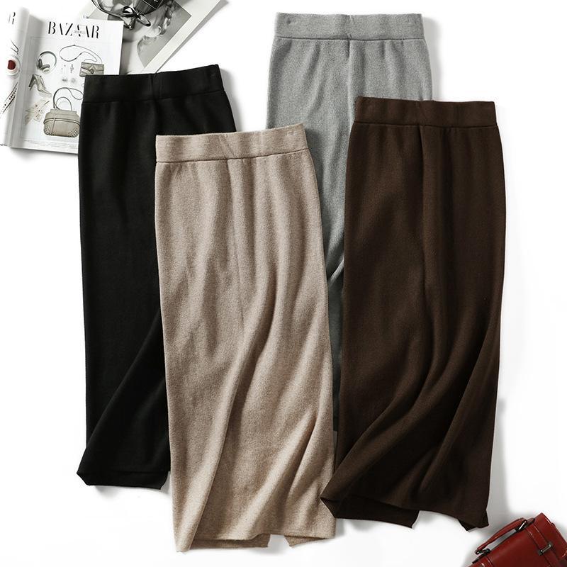2019 осень и зима юбка женская вязаная юбка полудлинная женская длинная секция юбки тонкий мешок хип сплит длинная юбка MX200327