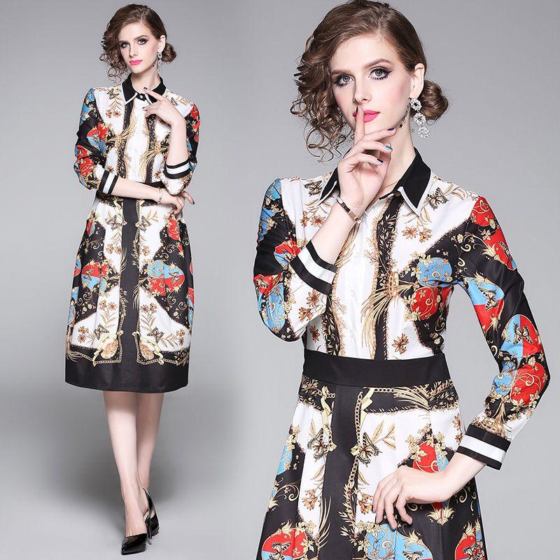 2020 vestito da autunno Primavera di fascia alta Womens abito a maniche lunghe abito OL modo si veste elegante signora
