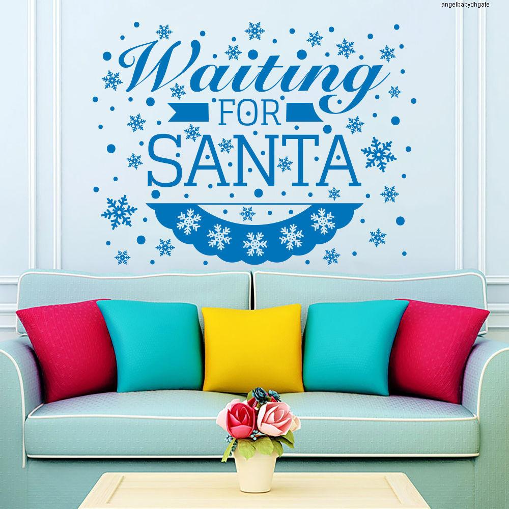 For Words Christmas Vinyl Snowflakes Waitting Wall Decals Santa Quotes Wall Sticker Christmas Art Decor Wall Mural D-159