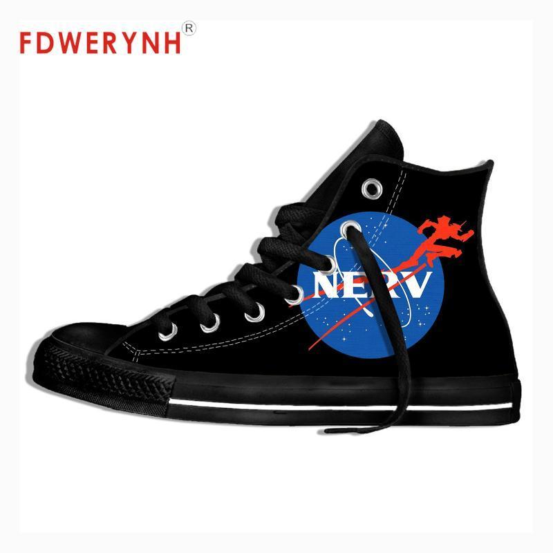 أحذية المشي الرجال السامي الأعلى قماش EVANGELION المعدنية موسيقى الروك تصميم الفرقة الخاصة بك خفيفة الوزن تنفس للنساء