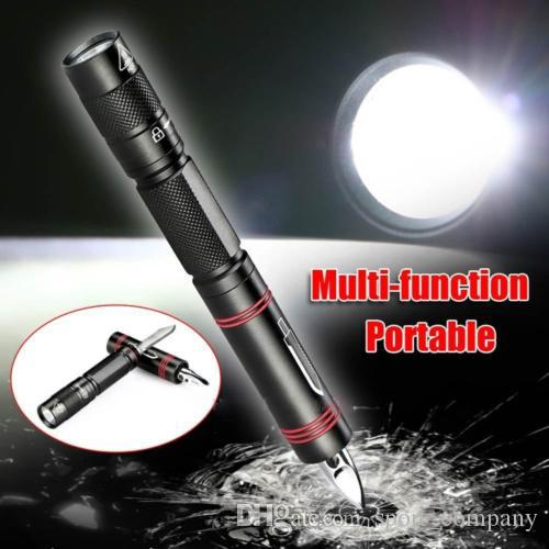 3 in 1 Outdoor Self Defence Tactical Pen Flashlight Security Protection Glass Breaker Knife LED Torch Pen Light Camping Hiking Multi Tool