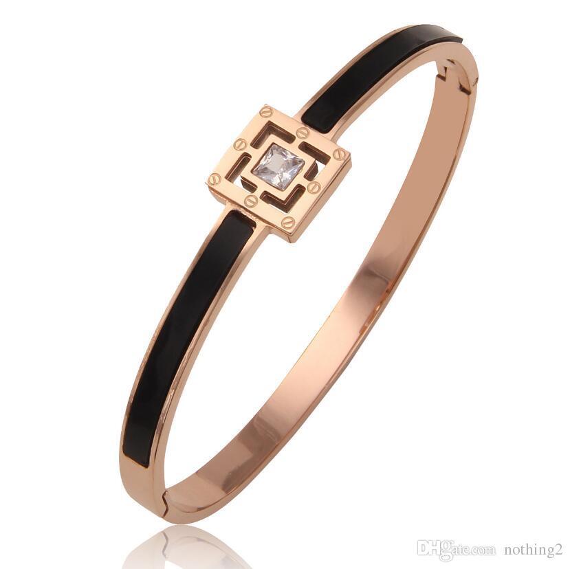 acero diseñador de joyas de titanio pulseras de los brazaletes de color rosa cuadrado negro de oro para las mujeres clásicas de la moda caliente