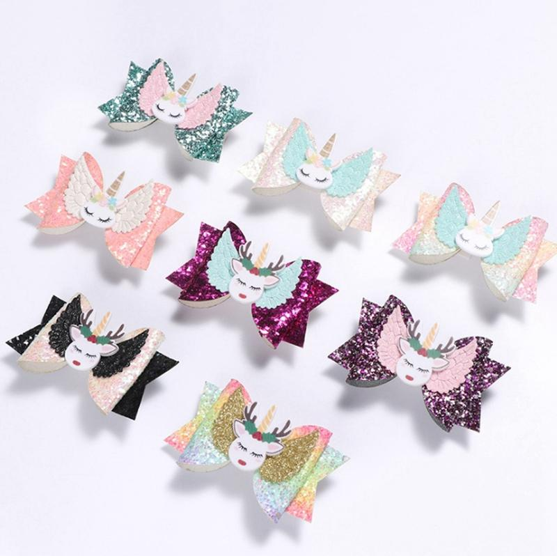 Unicorn Grampos Sequins Laço de Cabelo com clipe Baby Boutique Barrettes meninas Glitter Headwear Moda Cabelo Acessórios 8 Designs LQP-YW3155