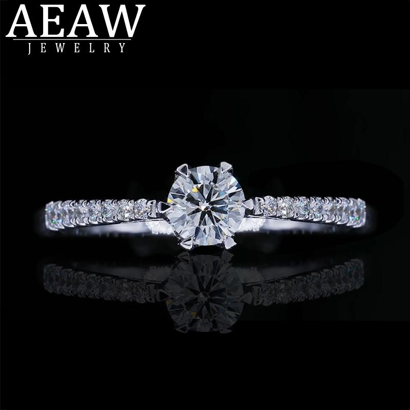 AEAW Natural Real Diamond Ring 14k Gold Women Lover Couple Anniversary Romantic Propose Engaged Wedding Party 2019 New S200110