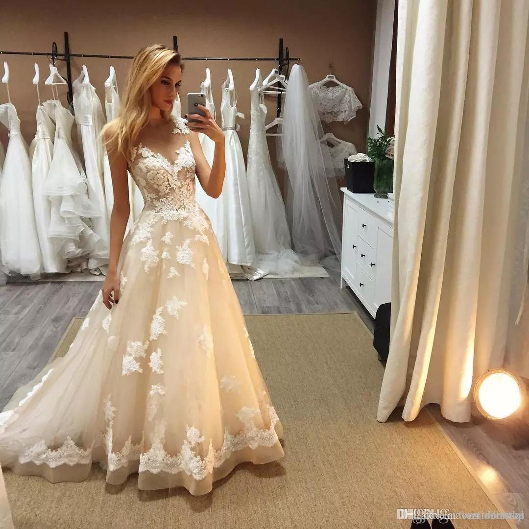 Boho Ülke Prenses Gelinlik A Hattı 2018 V Boyun Dantel Aplike Kat Uzunluk Berta Gelin Törenlerinde Artı Boyutu robe de mariage vestido
