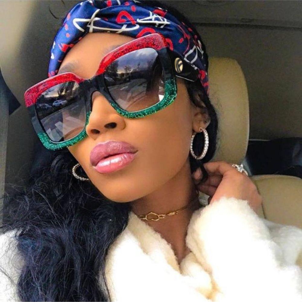 En gros De Mode Surdimensionné Beau Cristal Lunettes De Soleil Marque Designer De Luxe Femmes Cosy Shades Carré Femme Lunettes De Soleil Oculos