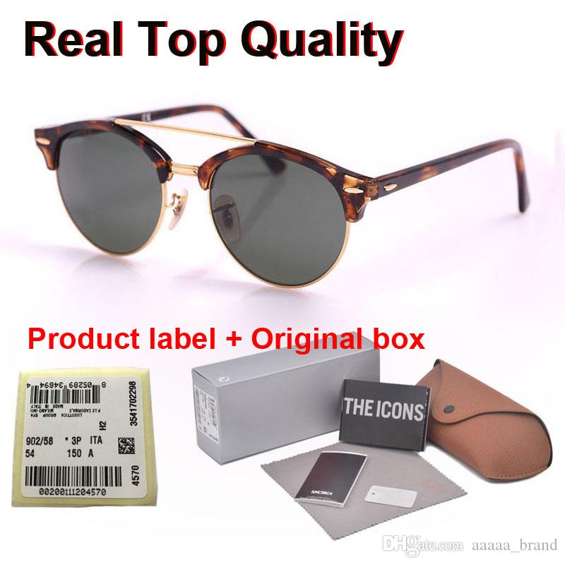 Brand designer Clubround Double Bridge Style uv glass lens Sunglasses women men Vintage Sun Glasses Oculos De Sol with Retail cases