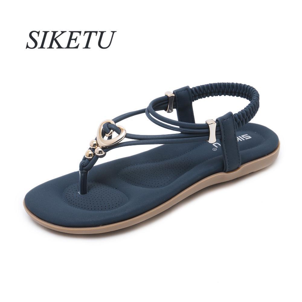 SIKETU Gladiator Summer women's Flat Sandals Metal Decoration Elastic band Concise woman shoes US5-10.5 Blue Purple Apricot