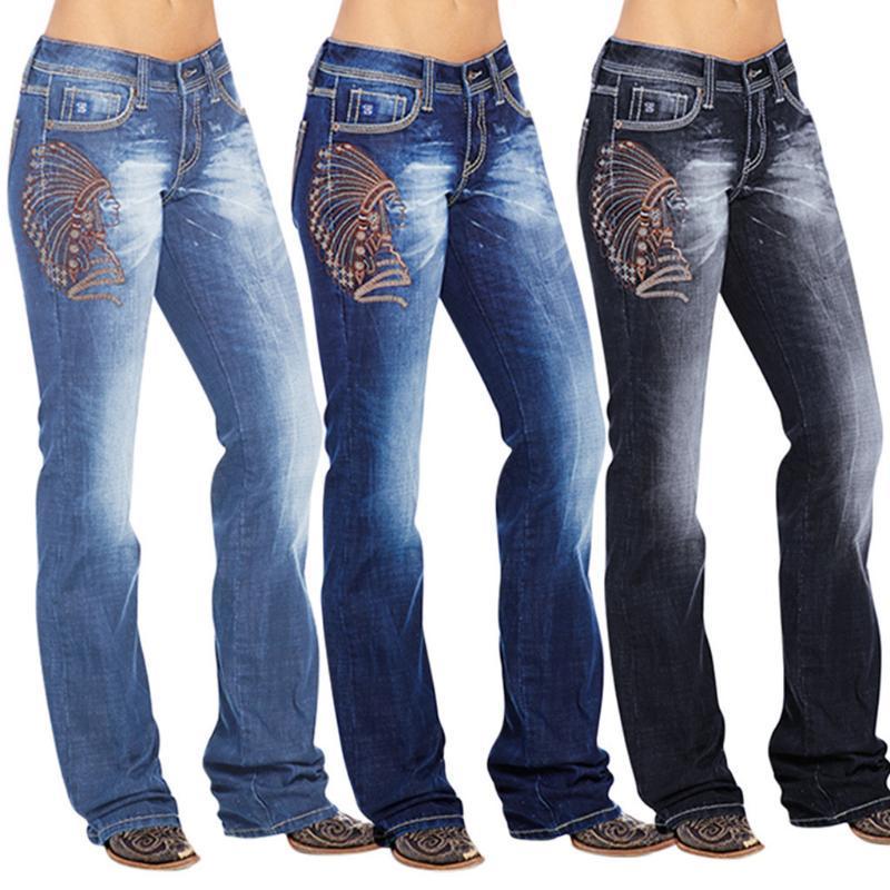 Frauen niedrige Taille Jeans Knopf Slim Fit dünne beiläufige Hosen mit Taschen Female Schlaghose mit weitem Bein Denim dünne Jeans # 35