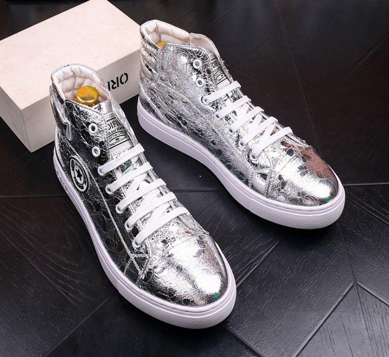 Neue Herren-Gold Faulenzer, hohe Art und Weise Metall High-Top-Plattformschuh, geeignet für Männer Casual Schuhe 38 44 b56