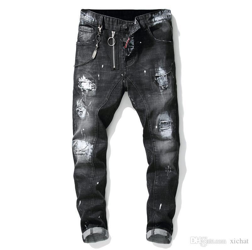 Benzersiz Erkek Boyalı Akıntılar Streç Siyah Kot Moda Tasarımcısı Slim Fit Yıkanmış Motosiklet Denim Pantolon Panelli Kalça HOP Pantolon 1012
