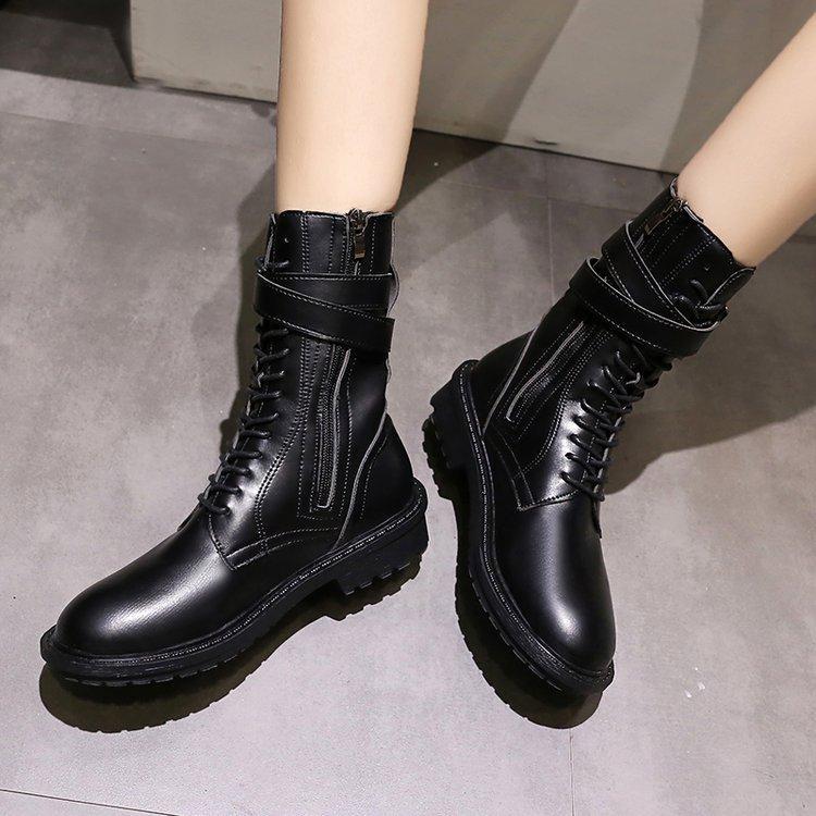أحذية الخريف المرأة ريترو إسفين للدراجات النارية حذاء أسود عالية الجودة الكاحل مارتن أحذية السيدات حزام بوكلي وترفيه أحذية