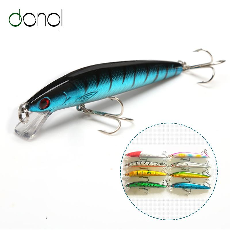 DONQL Minnow Hard Bait Fishing Lure 10cm 7.5g With Treble Hooks 3D Eyes Fishing Wobbler Crankbait Accessory Tackle Baits T191016
