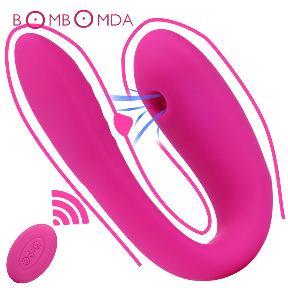 Vagin Lèche Vibrator pour les femmes U Dildo vibrateurs Oral Sex Clitoris Stimulation Femme Masturbation érotique Sex Toys pour adultes Y200410