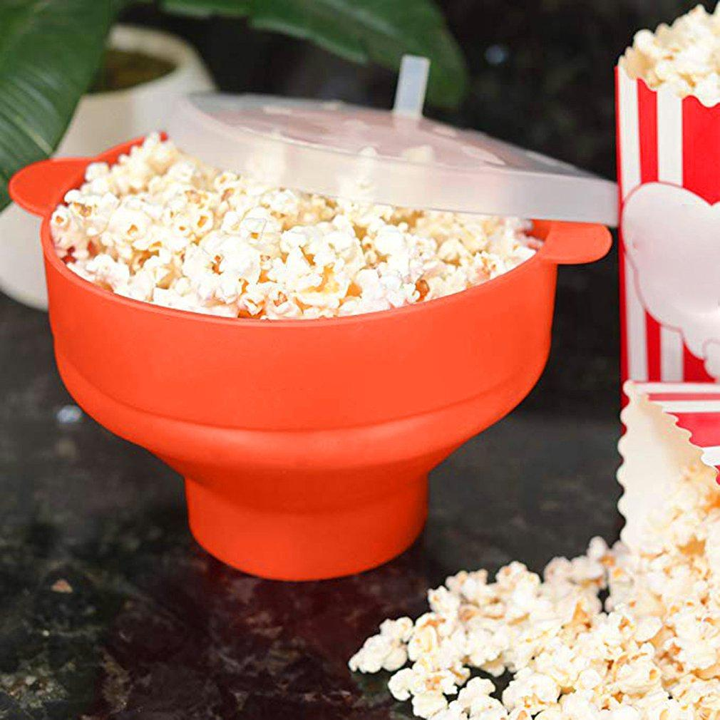 Kapak Silikon Kepçe Popcorn Gözlü Büyük Silikon Popcorn Bowl Mikrodalga Fırın Katlama Popcorn Kepçe Yüksek Sıcaklık