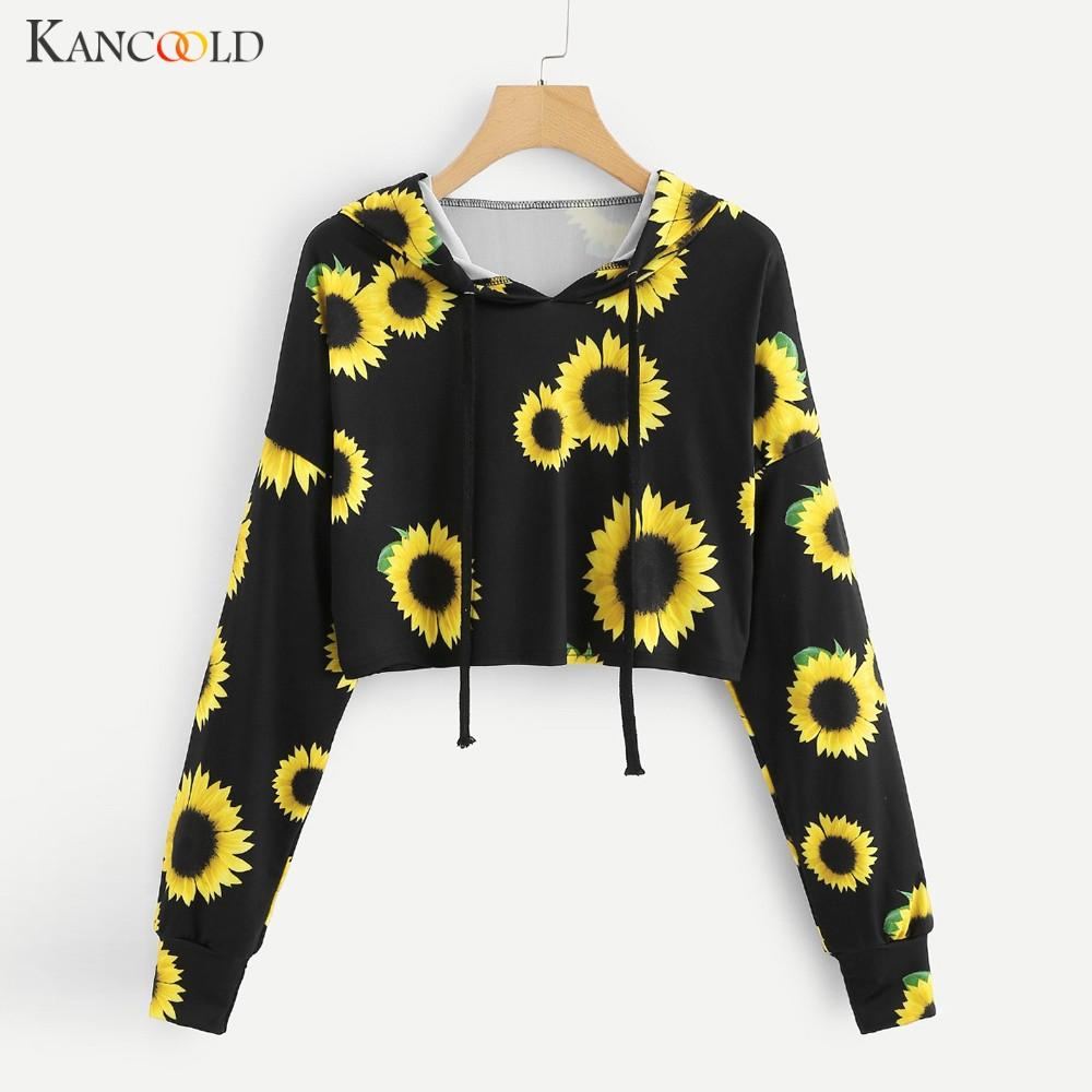 KANCOOLD толстовка 2019 Мода подсолнечник Pattern пуловеры Топы Женщина Повседневной O-образный вырез с капюшоном пальто длинного рукавом осенью Спортивной одежды