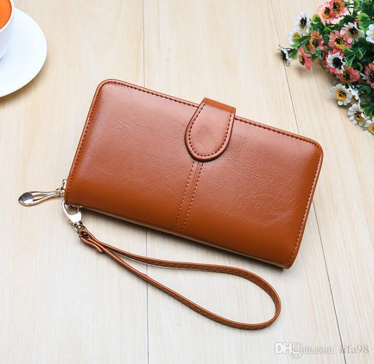 Eski moda balmumu kaplı patlayıcı bayan cüzdan, cep çanta, cep telefonu çantası, büyük kapasiteli çanta