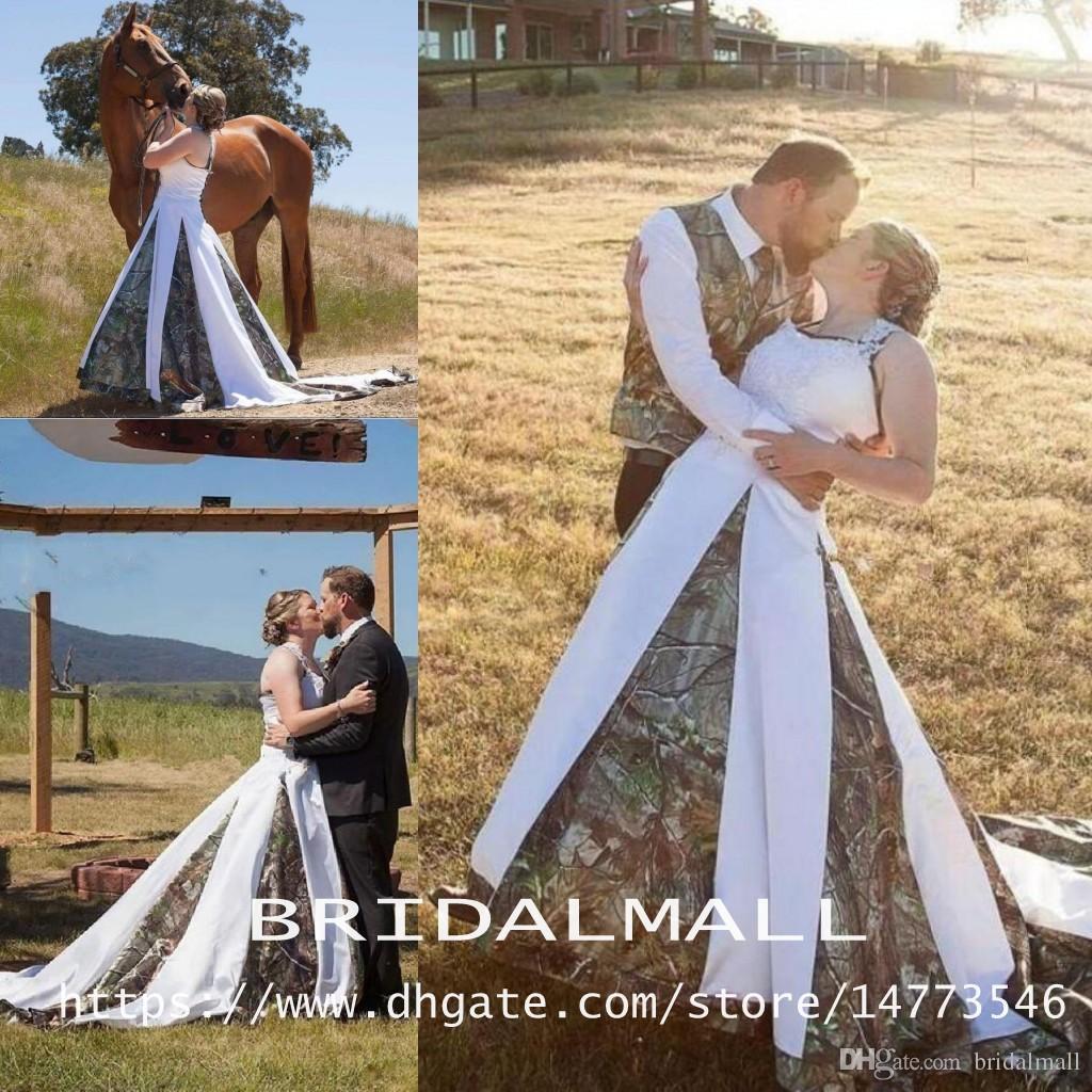 Halter Neck Western Country 2019 Camo robes de mariée Plus Size Une ligne Robes de mariée camouflage Fait sur mesure robes de mariée robe de Noiva