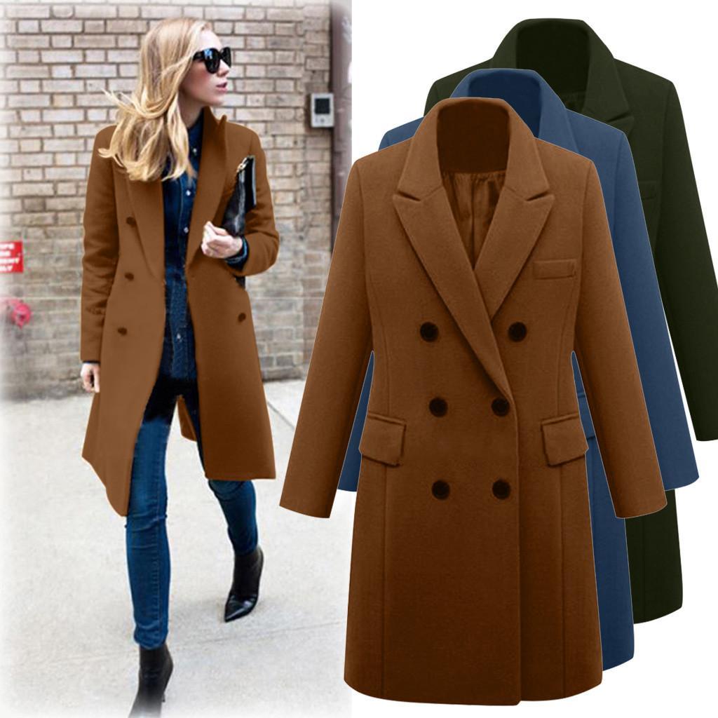 Winter Coat Women Wool Overcoat Womens Winter Lapel Wool Coat Jacket Long Overcoat Outwear Manteau Femme