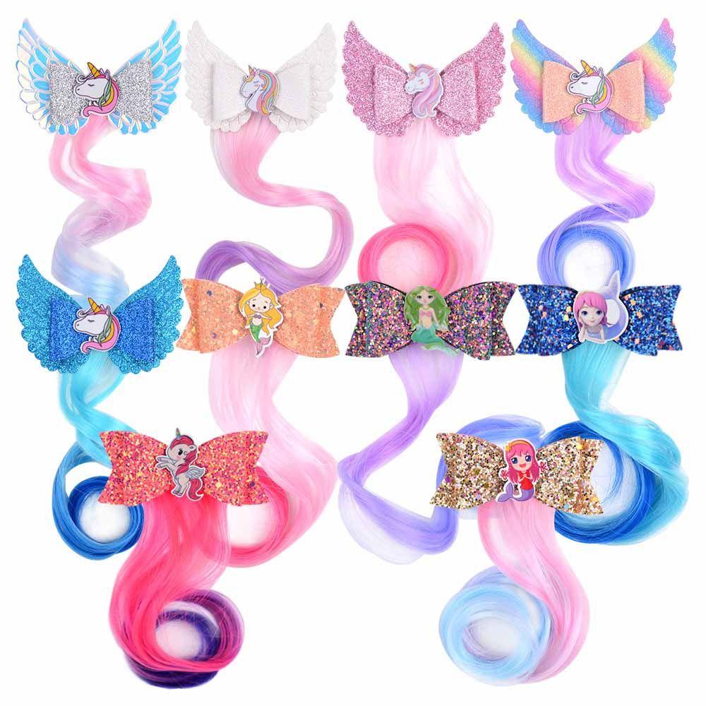 10pcs frete grátis / embalar clipes Acessórios de cabelo do unicórnio de cabelo para meninas do arco-íris Glitter Asas arcos de cabelo Princesa crianças longa peruca Grampos Para H