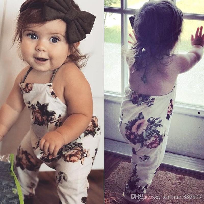 여름 키즈 여자 플로랄 Romper 베이비 걸즈 Sleevless Halter Romper Jumpsuit Playsuit Sunsuit Child Casual Outfits Clothes