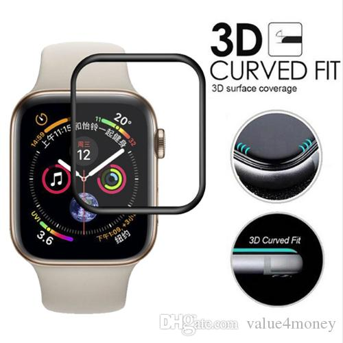 لساعات ابل ووتش 4 3D ، واقي شاشة زجاج مقوى بالكامل ، 44 ملم ، 40 ملم ، 42 ملم ، 38 ملم ، مضاد للخدش ، مضاد للخدش ، متوافق مع سلسلة iWatch 4 1 2 3