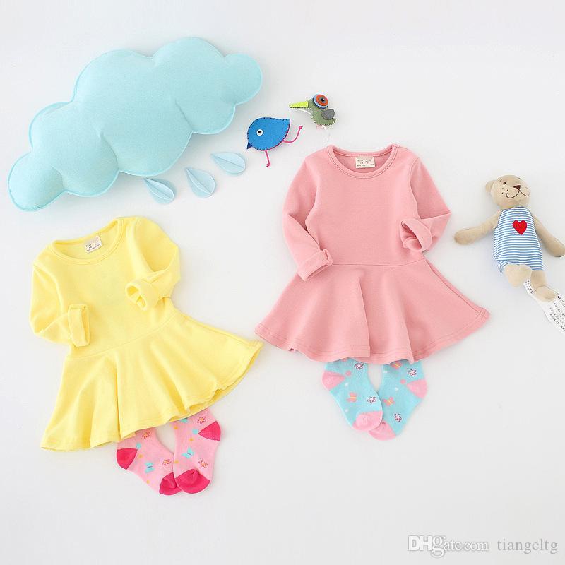 Niñas bebés Vestidos 7 colores Breves colores del caramelo de algodón de manga larga vestido de la colmena de los niños muchachas del vestido 9M-2T