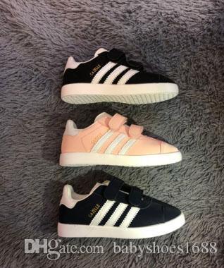Unisex GAZELLE Classe Sapatos Meninos Meninas Sneakers Casuais Athletic Correr Calçados Infantis para Crianças sapatos gancho laço de Couro, tamanho 25-35