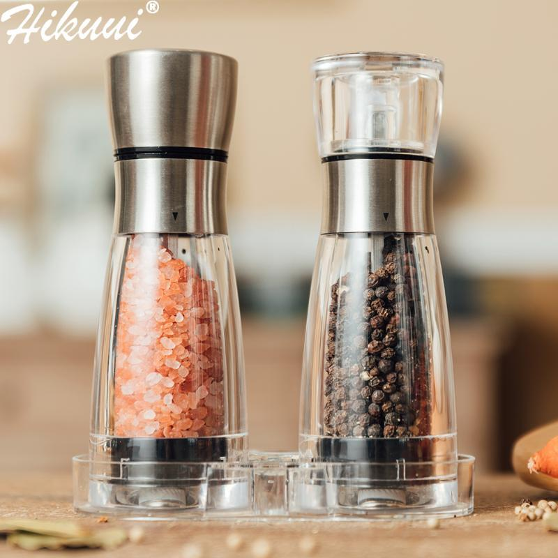 Manual Salt and Pepper Grinder Stainless Steel Pepper Mills Arylic Bottle Ceramic Grinding Core PeperTools Kitchen BBQ Gadgets
