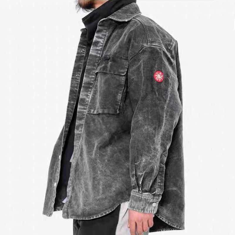 19SS Cav Empt Make Washed Grey Denim Shirt Jacket Chaqueta de un solo pecho Chaquetas casuales Moda Ropa de abrigo Hombres Mujeres Street Jacket HFHLJK016