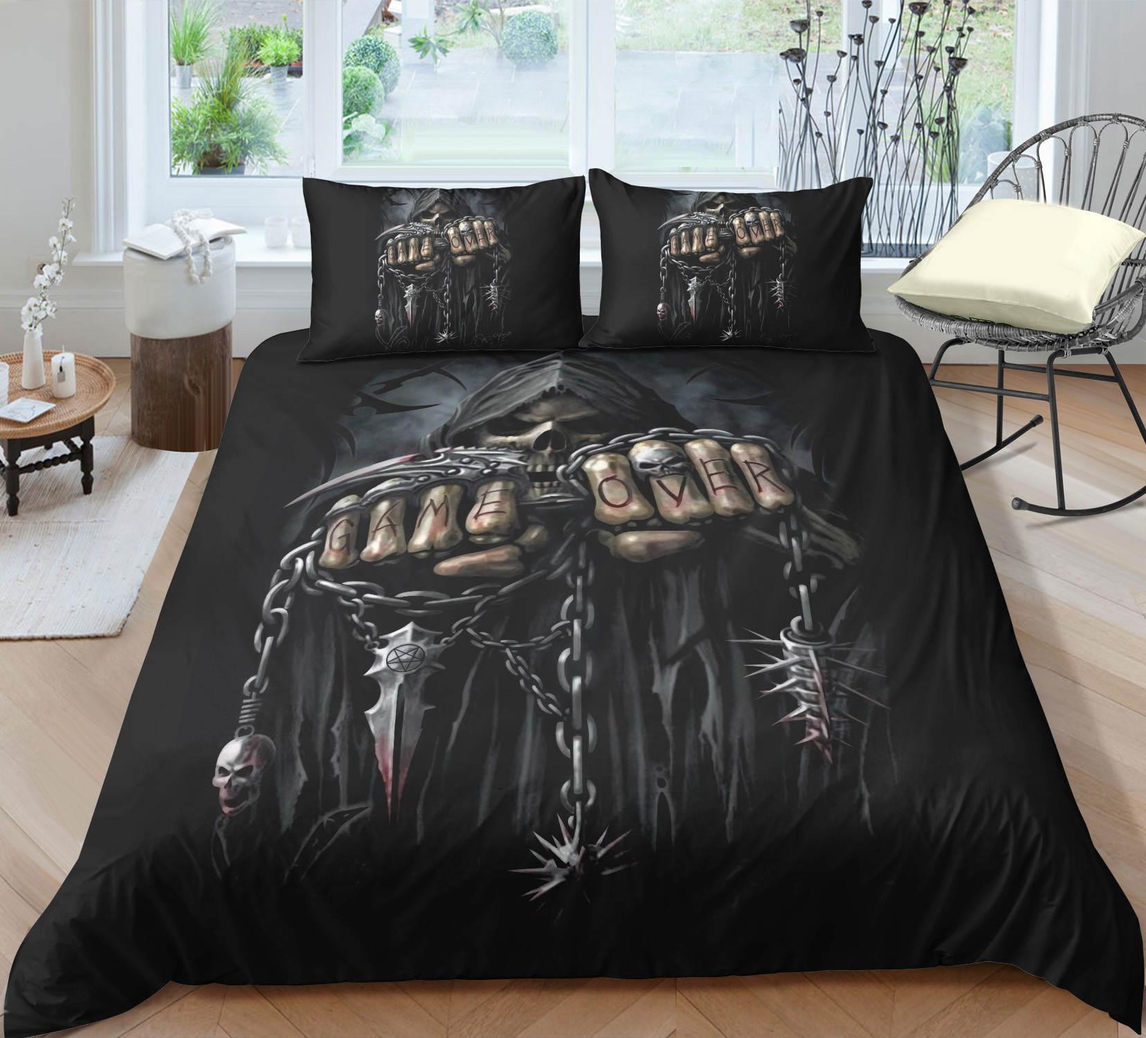 Preto Ceifador conjunto de cama King Size assustador Confortável Duvet 3D cover do Queen Início dezembro Individual Cama Dupla 3pcs Set Com fronha