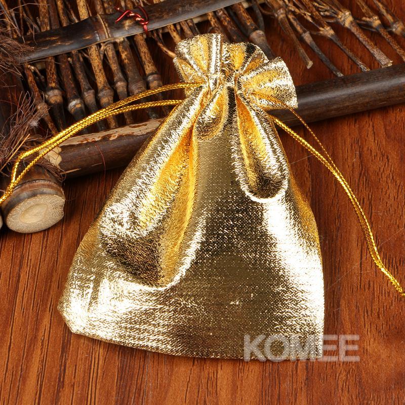 9x12cm pequeno sacos para embalagem 100pcs / lot ouro organza com cordão Sacos bolsas de jóias presente da festa de Sweet Candy Beads Armazenamento