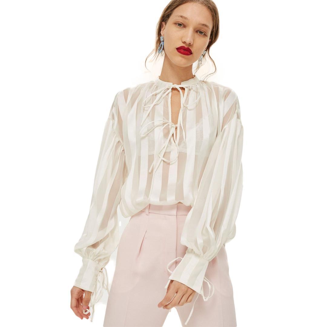 Женщины горячая Лолита стиль полосатый зашнуровать рубашка осень новое прибытие краткое экипаж шеи фонарь рукав топ для женщин