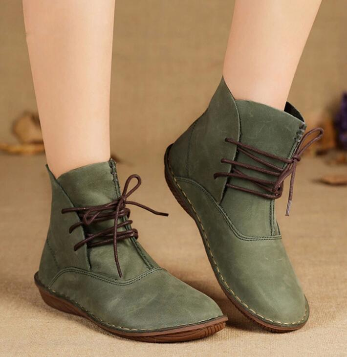 Women Cow Leather Ankle Boots Lace