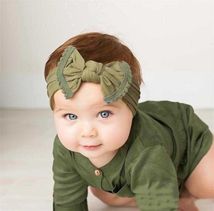 Ins Hot Fashion Bowknot Diadema Soft Nylon Headwear Bebé Niños Accesorios para el cabello Infant Girl Boy Headwrap
