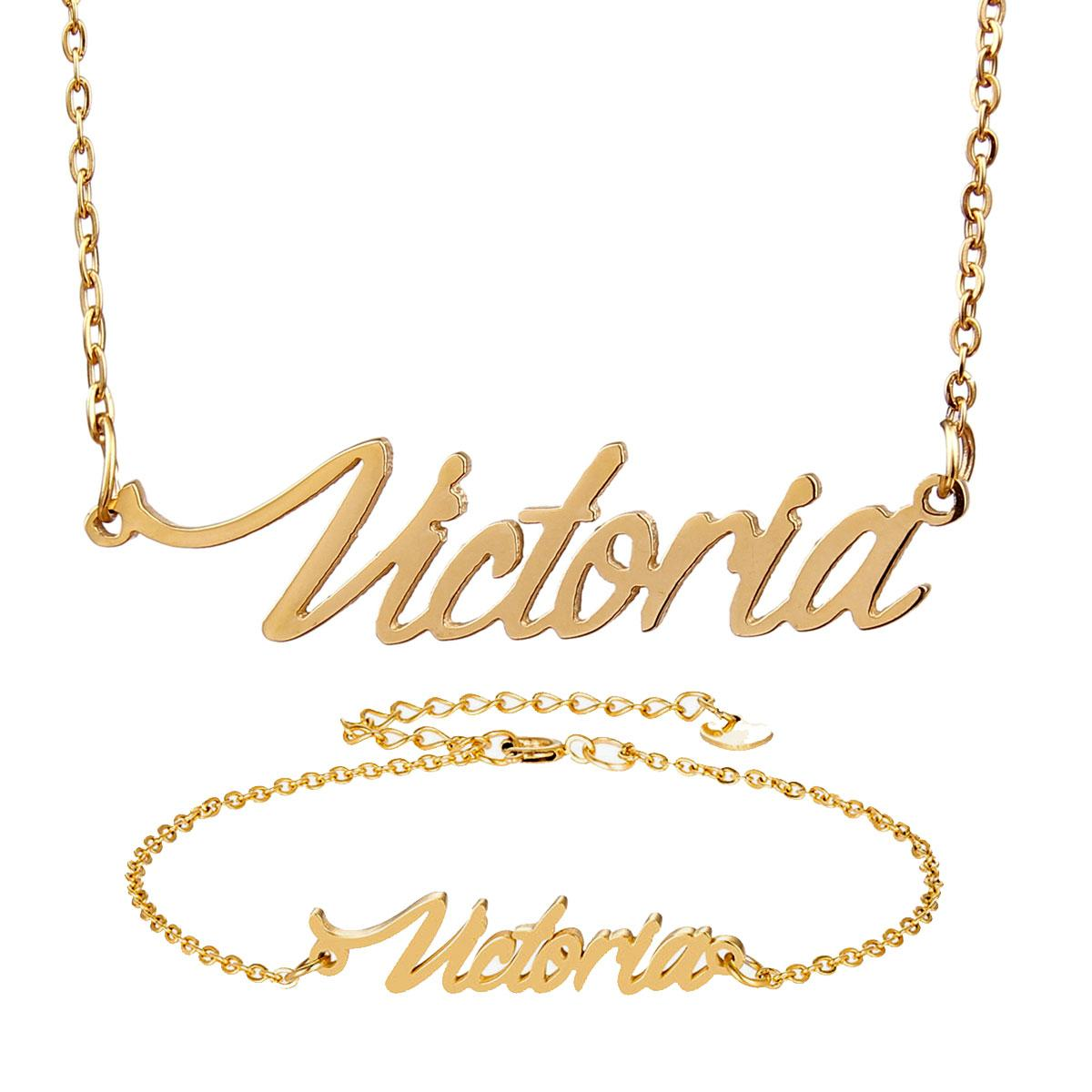 """Fashion Jewelry Stainless Steel Name Necklace Bracelet Set """" Victoria """" Script Letter Gold Choker Chain Necklace Pendant Nameplate Gift"""