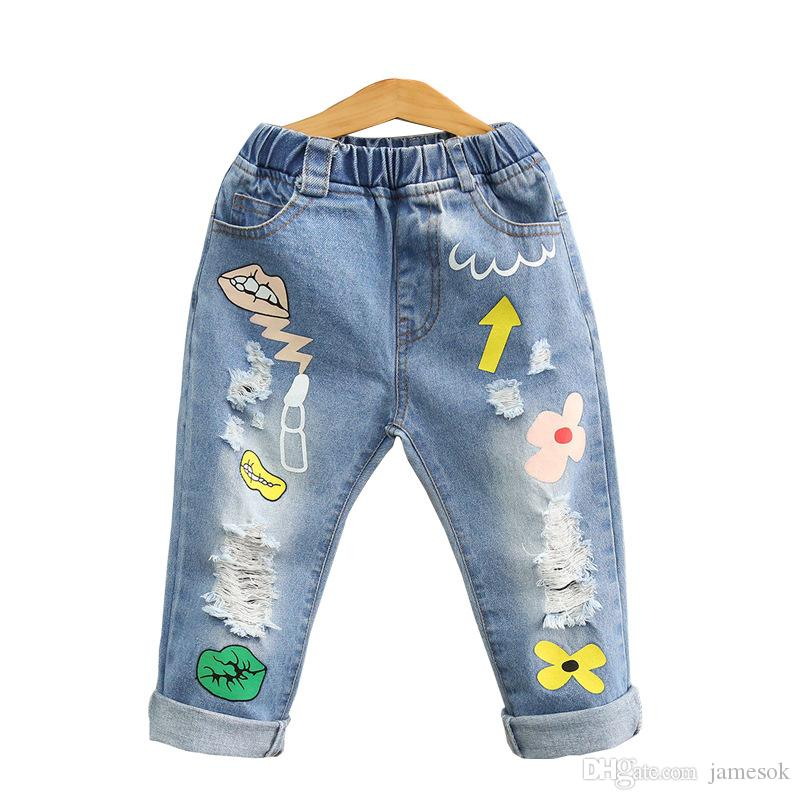 New design baby girls denim pants lips wash blue Tassels rags children fashion pant kids spring autumn long trousers cowboy pants dc265