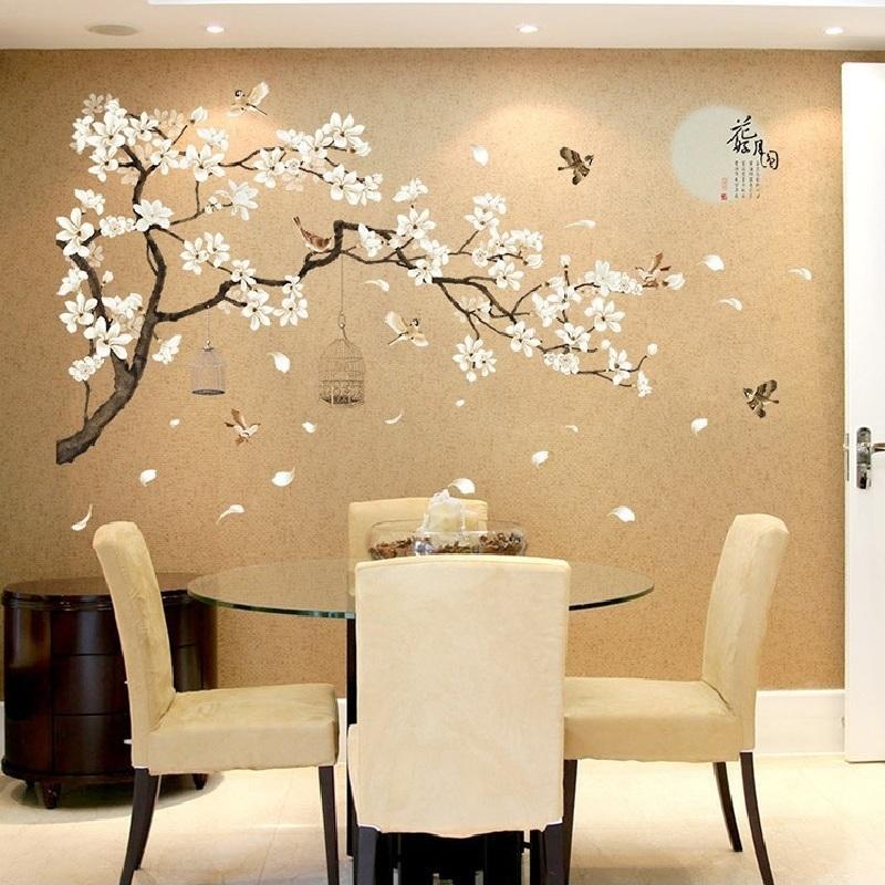 Autoadesivo della parete delle piante della luna di stile della Cina per la decorazione della camera da letto della porta della finestra Camera decorazione murale Pastrol rimovibile Wallposter fai da te