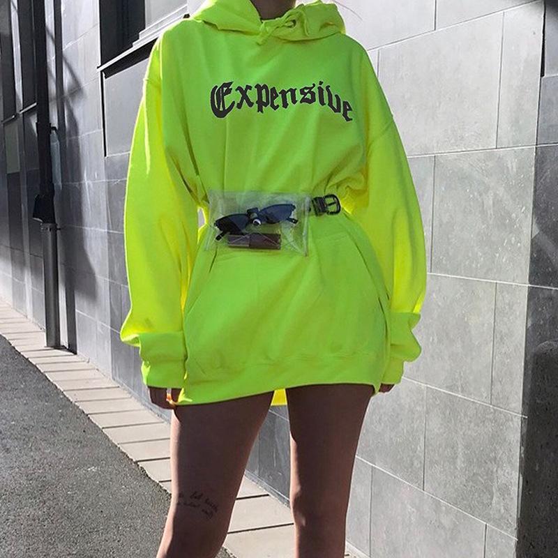 2019 Sonbahar Sıcak Rahat Kadın Hoodies Neon Yeşil Gevşek Kapüşonlu Hoodies Mektup Baskı Cepler Uzun Kazaklar Lady Streetwear PL645G