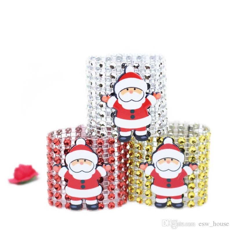 Porte-serviettes de Noël Père Noël Diamond Party Porte-serviettes Dîner de banquet Table de Noël Décoration Xmas Mesh Drill Napill Ring