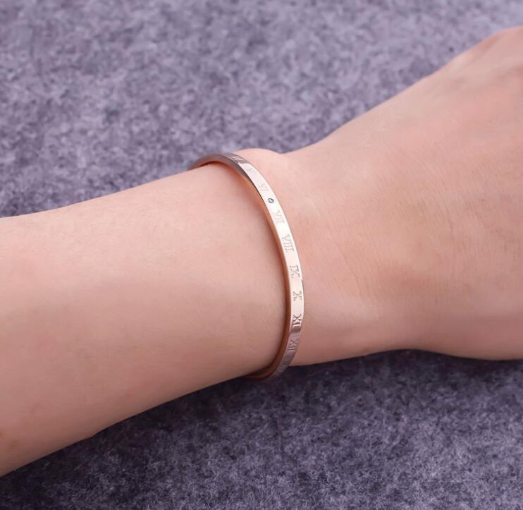 Hot fashion engraved Roman numeral titanium steel bracelet set with real diamond rose gold bracelets for women