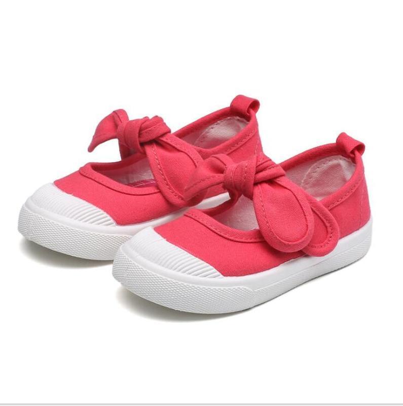 2020 أحذية الربيع طفلة قماش أحذية الأطفال عارضة مع ربطة القوس عقدة الصلبة لون كاندي بنات أحذية الأطفال لينة