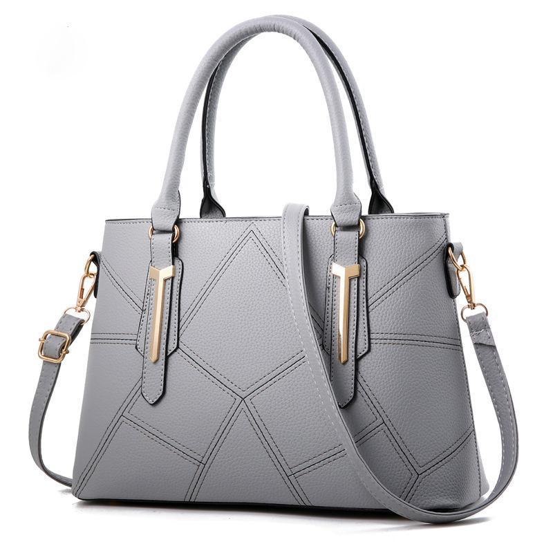 New Casual Ombro Plaid saco de moda costura selvagem Mensageiro Marca Feminino Totes Crossbody Bolsas Mulheres Couro Bolsas Grey