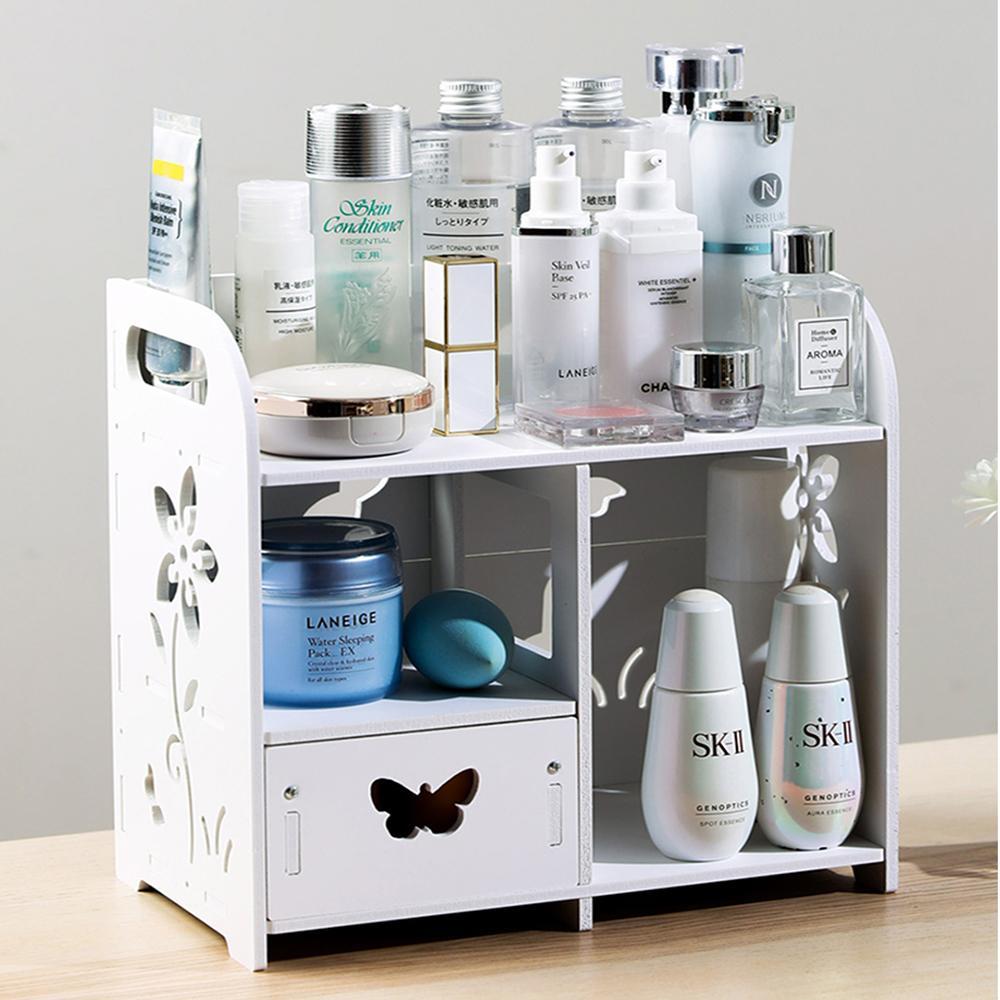 Maquillaje DIY Organizador Caja de madera blanca de plástico titular de cosméticos de almacenamiento Makyaj Kutusu hecho a mano Asamblea organizador cosmético