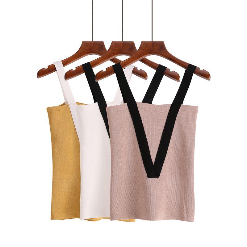 Verão Mulheres Knitting Sólidos Backless Camis Tops mangas camiseta Meninas Tanques Cortar Tops Malha retalhos V Correias Meninas