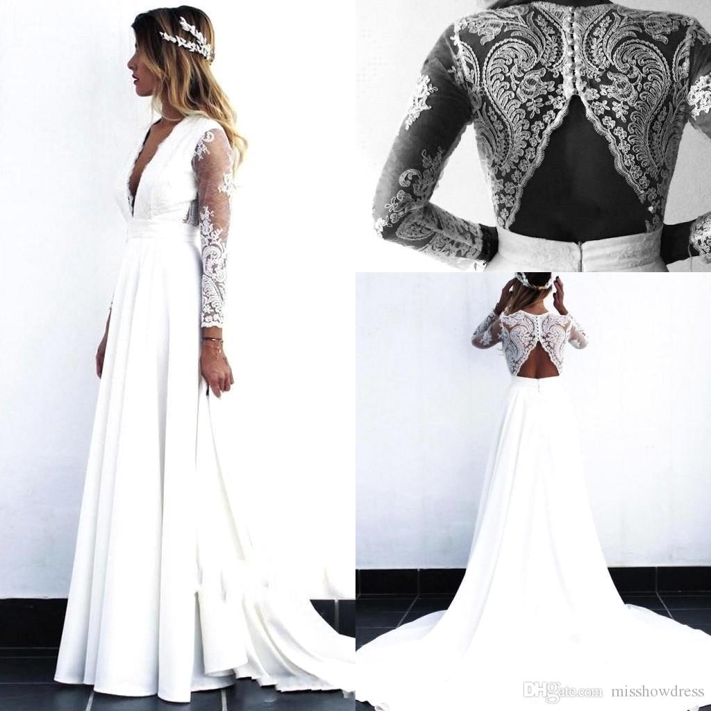 2020 Cheap Beach Bohemian Wedding Dresses Deep V Neck Long Illusion Long Sleeves Wedding Dress Bridal Gowns vestido de novia robe de mariée