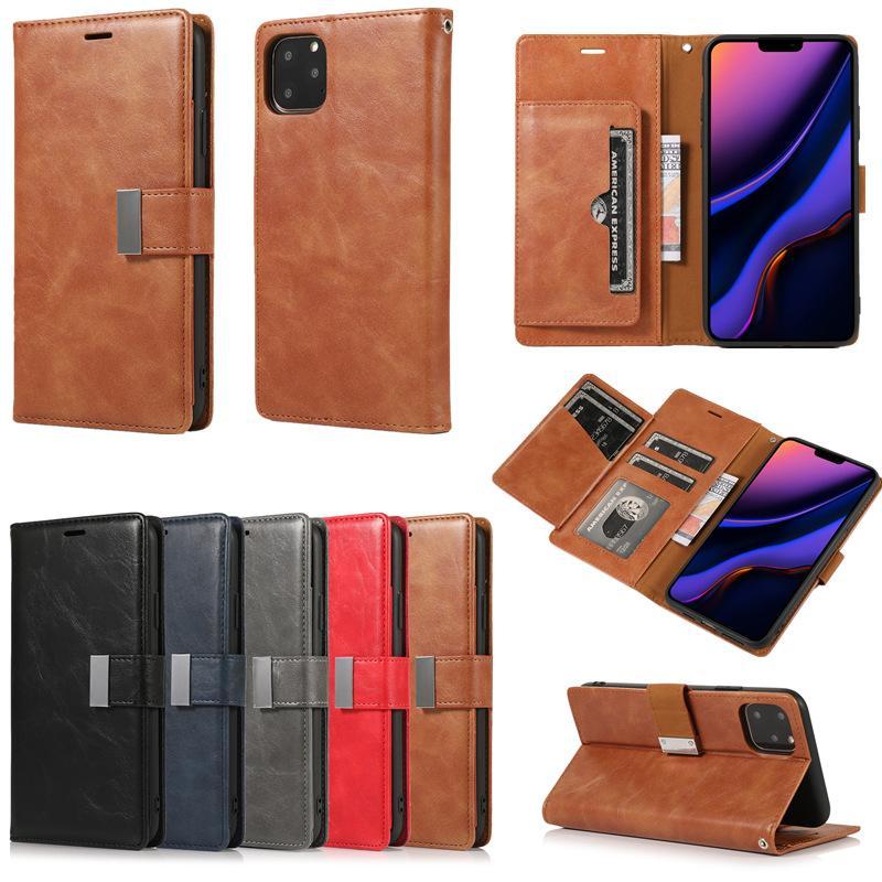 Plus récent Crazy Horse Carte boucle en métal Machines à sous Pu cuir flip Wallet magnétique Phone Case pour iPhone 11 Pro Max 7 8 S10