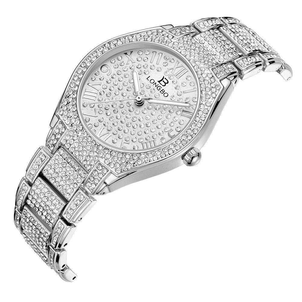 LONGBO فاخرة حجر الراين سوار ووتش نساء الماس أزياء السيدات روز الذهب اللباس ووتش الفولاذ المقاوم للصدأ ساعة اليد كريستال
