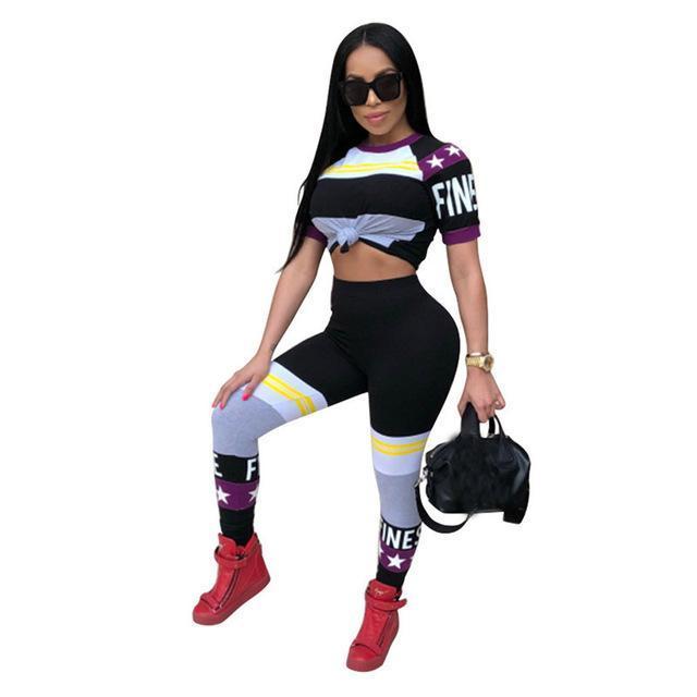 Mode sport Femmes Patchwork Imprimer été Survêtements Casual manches courtes T -Shirt Crop Pants Top et Slim costumes féminin drôles