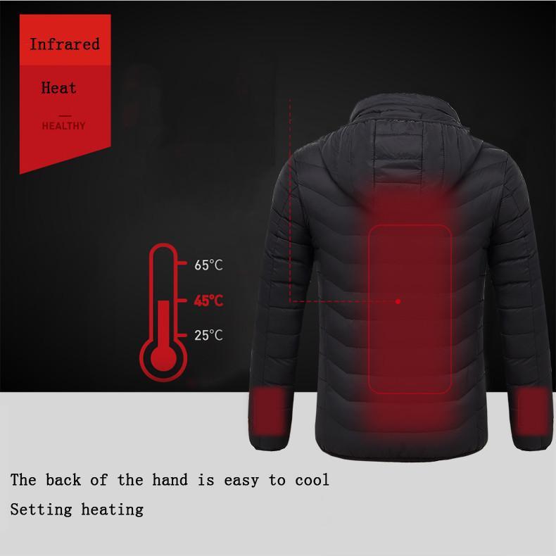 الشتاء الرجال الذكية USB التدفئة الكهربائية درجة حرارة ثابتة إلى أسفل دثار التدفئة السترة مقنع سترة الملابس الدافئة